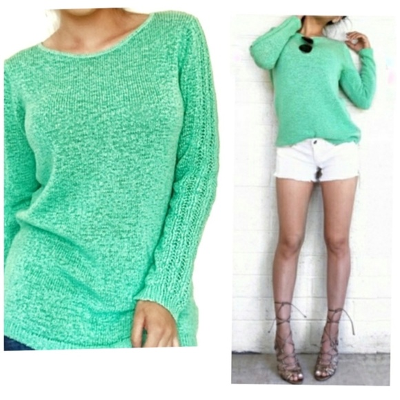 Rachel Zoe Karla Mint Green Open Knit Sweater Top